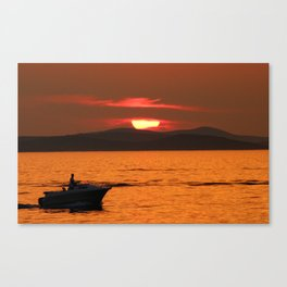 Sun behind the clouds - Sunset in Zadar Canvas Print