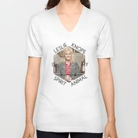 leslie knope V-neck T-shirts featuring Leslie Knope is My Spirit Animal by Dwell Beautiful