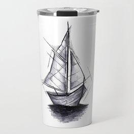 Sailboat Handmade Drawing, Art Sketch, Barca a Vela, Illustration Travel Mug