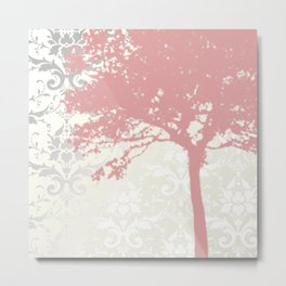 Tree Silhouette & Damask Backdrop Metal Print