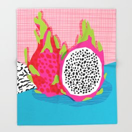 Hard Core - memphis throwback retro neon tropical fruit dragonfruit exotic 1980s 80s style pop art Throw Blanket