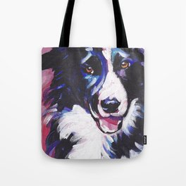 Fun BORDER COLLIE Dog bright colorful Pop Art painting by Lea Tote Bag