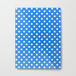 Small Polka Dots - White on Dodger Blue Metal Print