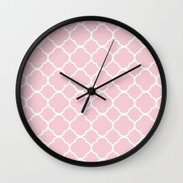Quatrefoil Shape (Quatrefoil Tiles) - Pink White Wall Clock