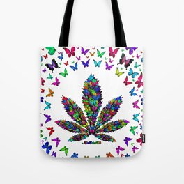 Butterflies Cannabis Leaf 3 Tote Bag