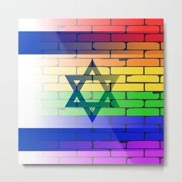 Gay Rainbow Wall Israel Flag Metal Print