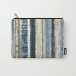 Distressed Blue and White Watercolor Stripe Carry-All Pouch