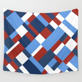 Map 45 Red White and Blue Wall Tapestry