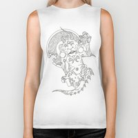 devil Biker Tanks featuring Devil by MissingPieceTattoo