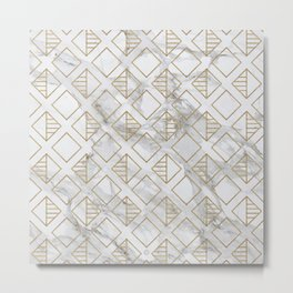 Marble and gold geometric Metal Print