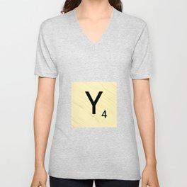 Scrabble Y Initial - Large Scrabble Tile Letter Unisex V-Neck
