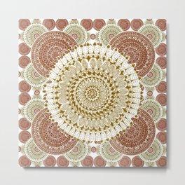 Crimson and Brown Mandala Pattern Metal Print