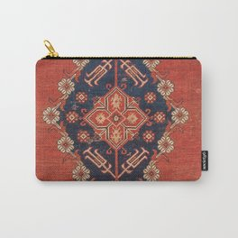 Southwest Tuscan Shapes II // 18th Century Aged Dark Blue Redish Yellow Colorful Ornate Rug Pattern Carry-All Pouch