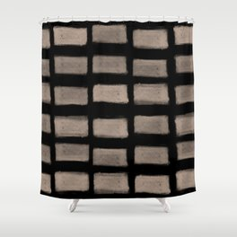 Brush Strokes Horizontal Lines Nude on Black Shower Curtain