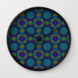Patterns in Purple and Teal. How Does That Make You Feel? Wall Clock
