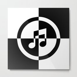 Black and White Music Note Metal Print
