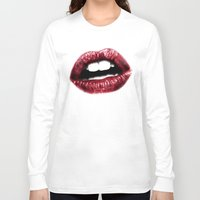 lips Long Sleeve T-shirts featuring LIPS by Joelle Poulos