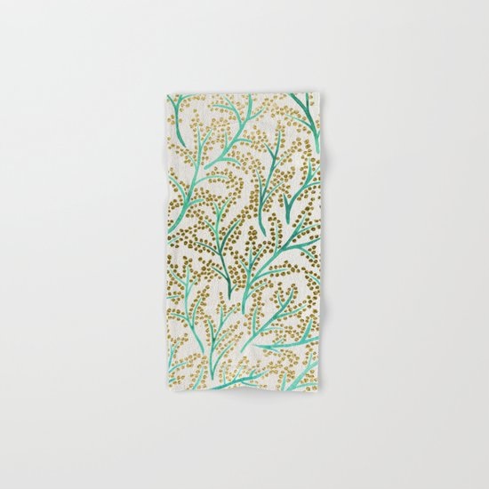 Green & Gold Branches Hand & Bath Towel