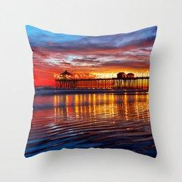 Huntington Beach Sunset   12/2/13 Throw Pillow