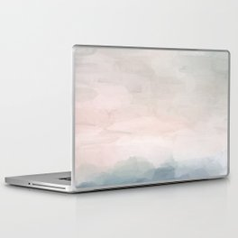 Blush Pink Mint Sky Baby Blue Abstract Ocean Sky Sunrise Wall Art, Water Clouds Painting Laptop & iPad Skin