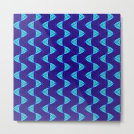 Waves Pattern Blue Metal Print