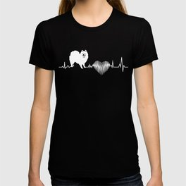 Japanese Spitz Heartbeat Funny Gift Dog Lover T-shirt
