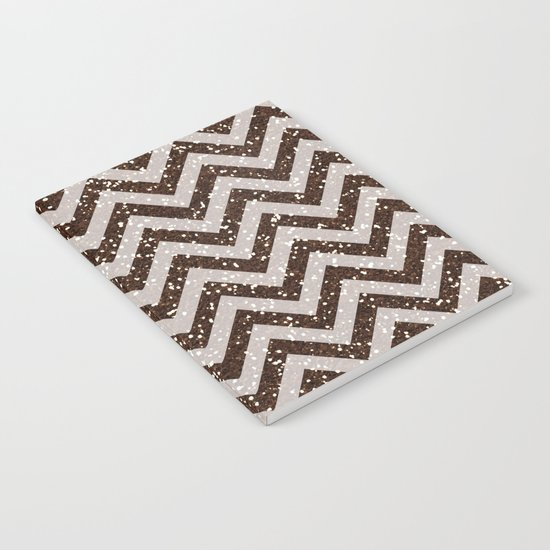 Sparkling brown glitter chevron pattern - coffee IV Notebook