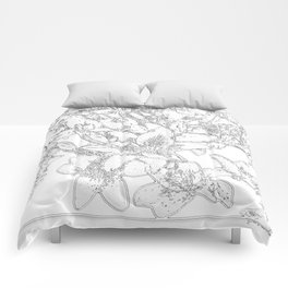 Large flowers pencil effect Comforters