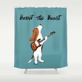 Basset the Bassist (Blue-Gray) Shower Curtain