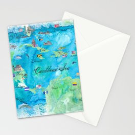 Caribbean Cruise Travel Poster Map Antilles West Indies Cuba Florida Stationery Cards