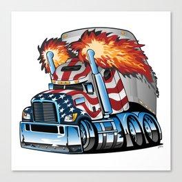 Patriotic American Flag Semi Truck Tractor Trailer Big Rig Cartoon Canvas Print