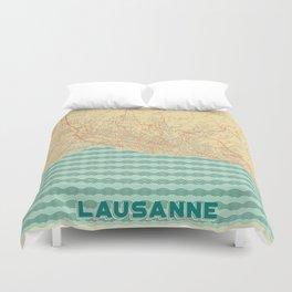 Lausanne Map Retro Duvet Cover