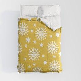 Mid Century Modern Sun and Star Pattern Mustard Yellow Comforters