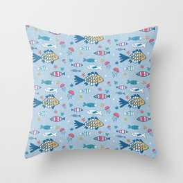 Fish and Friends Throw Pillow