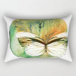 Pencil Drawing And Watercolor Print Art Work of Green Butterfly Rectangular Pillow