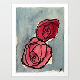 Two Little Roses Art Print