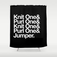 knitting Shower Curtains featuring Knitting by Outside In