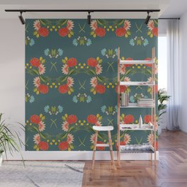 Summer flower pattern in green background Wall Mural