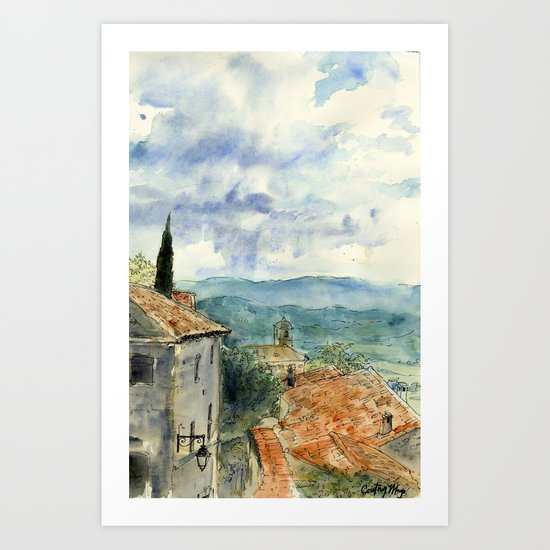 A View of Lacoste, France Art Print