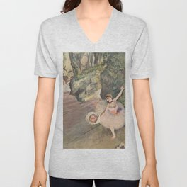 Dancer With A Bouquet Of Flowers The Star Of The Ballet By Edgar Degas | Reproduction | Famous Frenc Unisex V-Neck