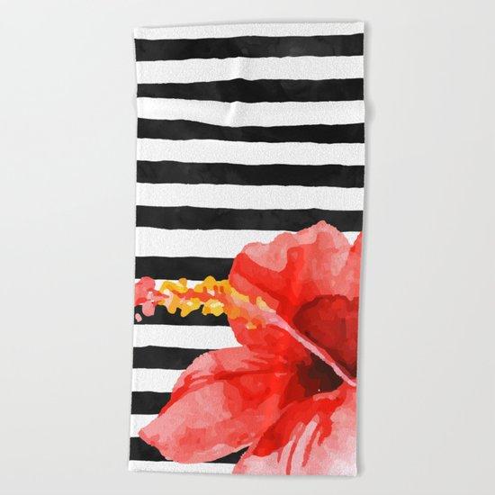 Tropical flower on stripes Beach Towel