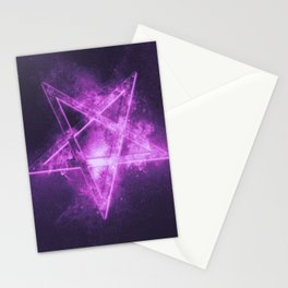 Reversed Pentagram symbol. Abstract night sky background. Stationery Cards