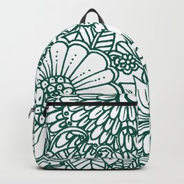 Hand drawn forest green white modern floral Backpack