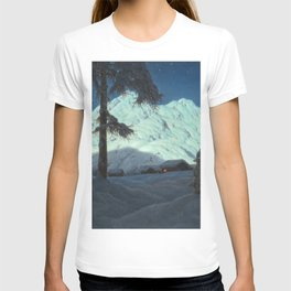 Winter Cabin in the Mountains landscape painting by Ivan Fedorovich Choultsé T-shirt