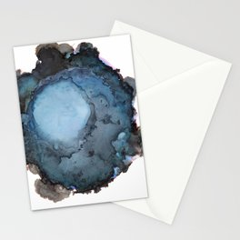 Black and Blue Vortex Ink Painting Stationery Cards