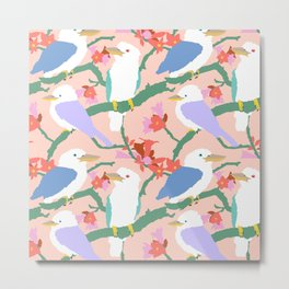 Kookaburra Birds + Little Kurrajong Flowers Metal Print