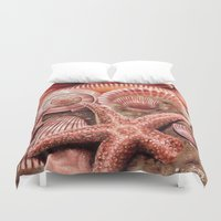 shells Duvet Covers featuring Shells by Hauvonna Godoy