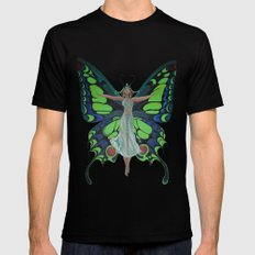 Art Nouveau Vintage Flapper With Butterfly Wings 2X-LARGE Mens Fitted Tee Black