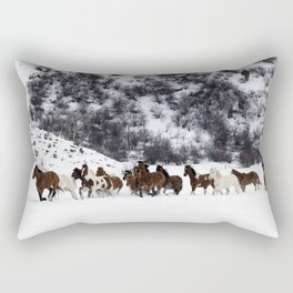 A mixed herd of wild and domesticated horses frolics on the Ladder Livestock ranch at the Wyoming-Co Rectangular Pillow