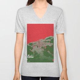 Calais - France Christmas Color City Map Unisex V-Neck